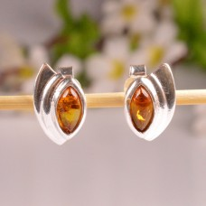 Cognac Amber Earrings in the lovely shape
