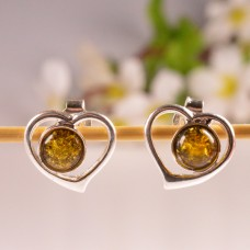 Amber Earrings Green Hearts