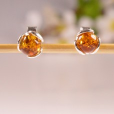 Amber Earrings small Flowers