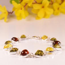Amber Bracelet with oval and square stones