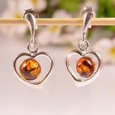 Beautiful hanging Amber Earrings Hearts