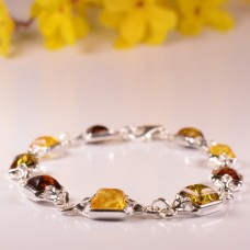 Amber Bracelet in the shape of multicolour Squares