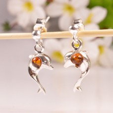Amber Earrings Dolphins