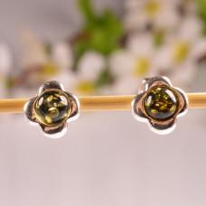 Delikatne kolczyki zielone kwiatki