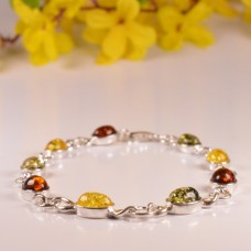 Amber Bracelet with Sterling Rings