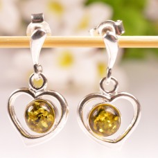 Beautiful hanging Amber Earrings Green Hearts