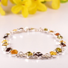 Beautiful Amber Bracelet with silver Rings
