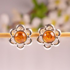 Cute Amber Earrings Flowers