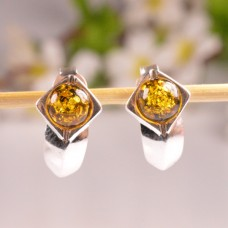Beautiful Green Amber Earrings Half-moon