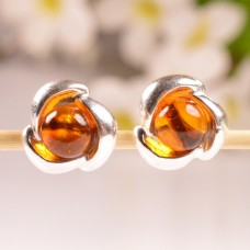 Amber Earrings in the original shape of Flowers